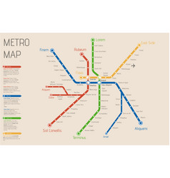 Realistic city metro map backgrou vector
