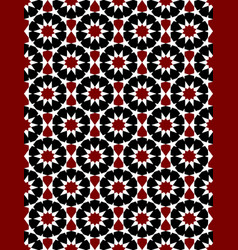 Red and black moroccan motif tile pattern vector