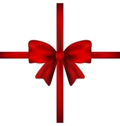 Red gift bow of ribbon isolated vector