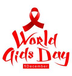 red ribbon loop symbol world aids day handwriting vector image