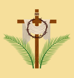 Religious cross crown and palm branches vector