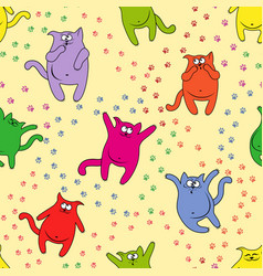 Seamless pattern with amusing cats vector