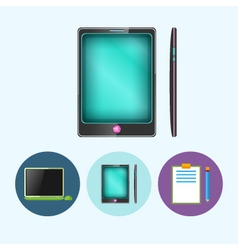 Set icons with laptop phone clipboard vector image