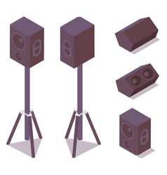 Set isometric acoustic professional speakers vector