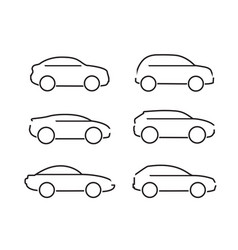 Set of black cars icons - stock vector