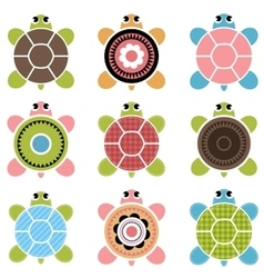 set of color turtles vector image vector image