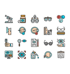 Set optometry flat color icons vitamins vector