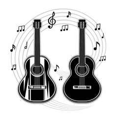 silhouette of a guitar and musical notes vector image