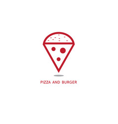 simple with slice pizza and burger vector image