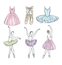 Sketch pictures of different ballet dancers vector