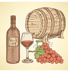Sketch wine barrel in vintage style vector image