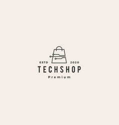 smart shop tech logo icon hipster retro vintage vector image
