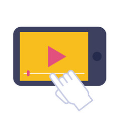 smartphone with media player flat style icon vector image