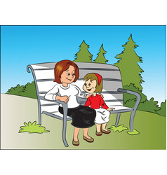 smiling mother and daughter sitting on bench at vector image