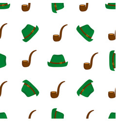 smoking pipe and green hat seamless pattern vector image