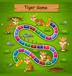 Snakes ladders game tiger theme vector