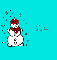 Snowman its snowing snowflakes blue winter hand vector