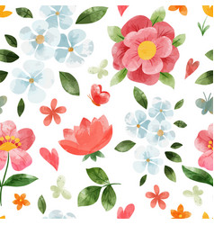 spring floral seamless pattern hand drawn vector image