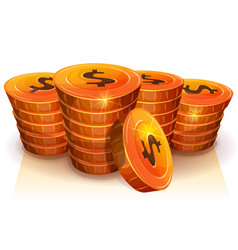 Stack of dollar coins for game ui vector