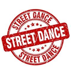 Street dance red grunge round vintage rubber stamp vector