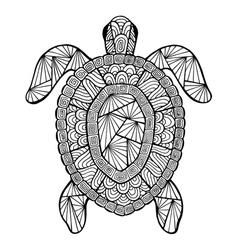 Stylized turtle zentangle vector image