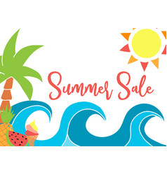 summer sale template with drawings waves vector image