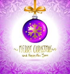 Template with single shiny violet christmas ball vector