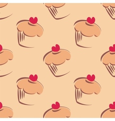 Tile cupcake pattern or sweet cake background vector image