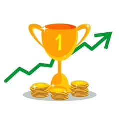 Trophy cup with gold coins in flat style vector