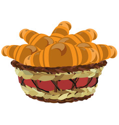 Wicker basket with croissants flat vector