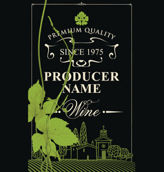 Wine label with grapevine and landscape of village vector