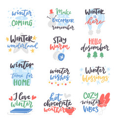 Winter hello logo badge text letters vector