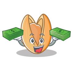 With money pistachio nut mascot cartoon vector