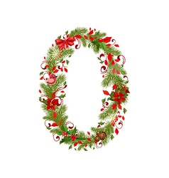 christmas floral tree number 0 vector image