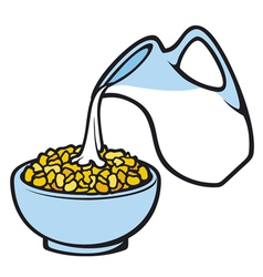 corn flakes and milk vector image vector image