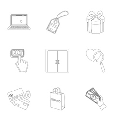 E-commerce set icons in outline style Big vector image vector image
