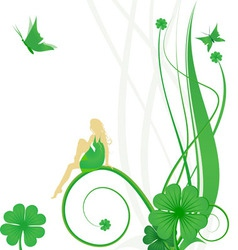 fairy butterflies and clover vector image vector image