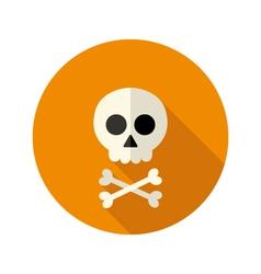 Halloween skull flat circle icon vector image vector image