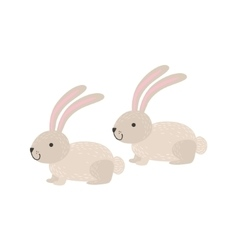 Two White Bunnies Sitting vector image