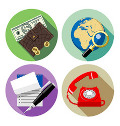 web round icons with red phone globe and lens vector image vector image