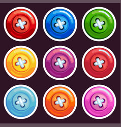 a set of colored cartoon buttons vector image