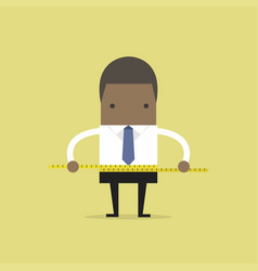 businessman measuring his waist with measure tape vector image vector image