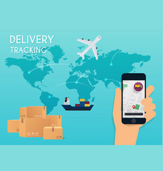 hand holding mobile smart phone with app delivery vector image vector image