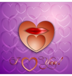 paper cut Valentine card with hearts and lips vector image vector image