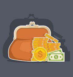 purse with cash business and finance symbols vector image vector image