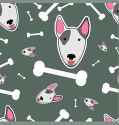 with bull terrier and bones vector image