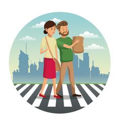 couple walking street shopping bag urban vector image