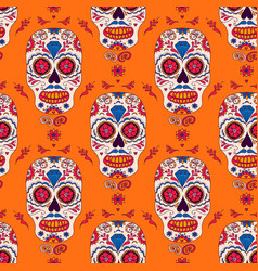 hand drawn mexican day of the dead seamless vector image vector image