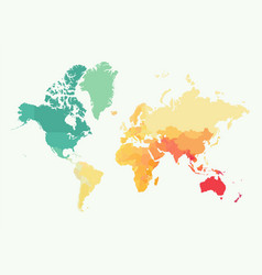 high detail world map with color vector image