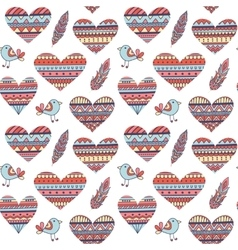 Seamless Pattern with Hearts in Ethnic Style vector image vector image